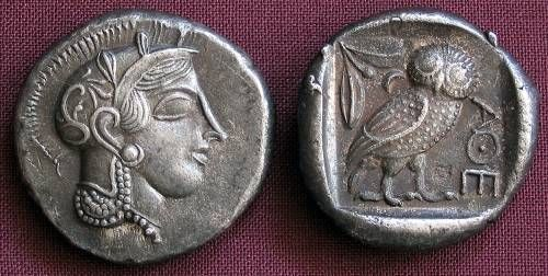 Athens Tetradrachm Greece 455-449 BC fine silver replica coin OBV: Head of Athena r. wearing crested helmet with olive-leaves and floral scroll.  R: Owl standing right hd. facing ATHE olive-twig and crescent all within incuse square.