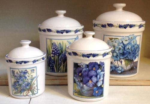 Marjolein Bastin Canisters Set Of Four Blue Flower Floral