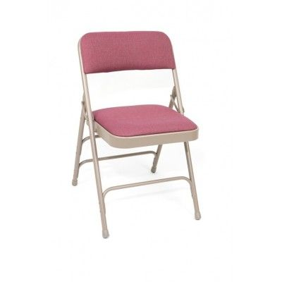 Premium Fabric Upholstered Folding Chair  18 Gauge Frame / Double Hinge  3 - Double Riveted Cross