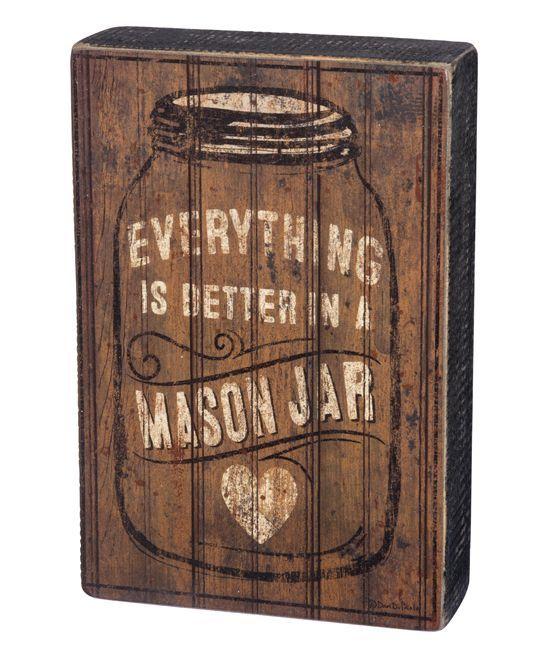 'Mason Jar' Block Sign