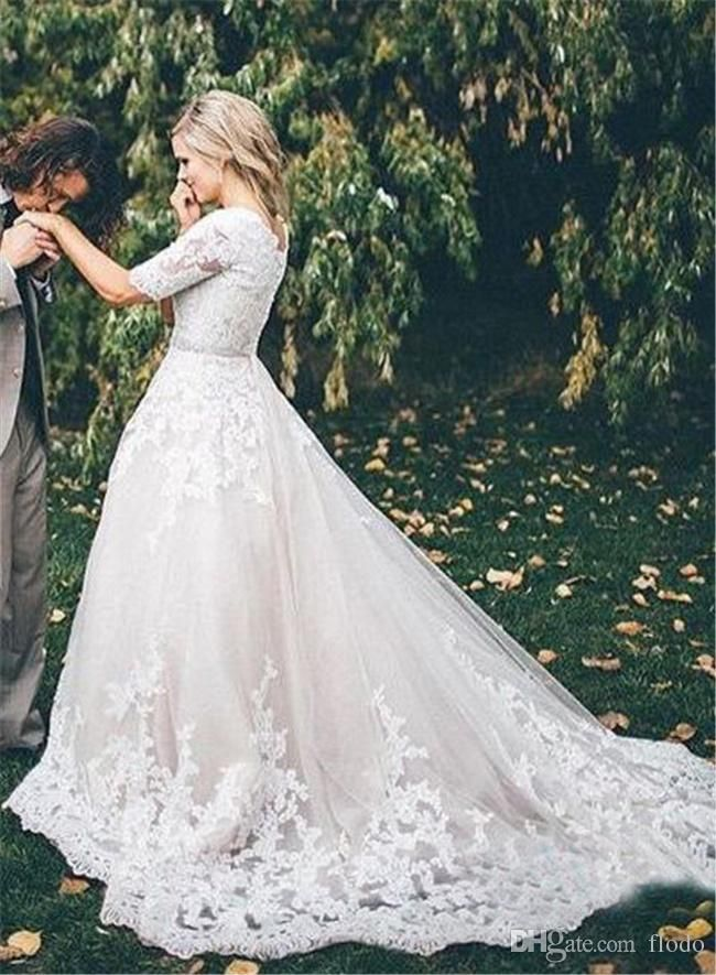 Vintage Beaded Lace Applique A Line Wedding Dressses With Illusion Half Sleeves 2017 Modest Chapel Train Ivory Tulle Plus Size Bridal Gowns Wedding Dresses Under 200 Wedding Gown Rental From Flodo, $130.58| Dhgate.Com