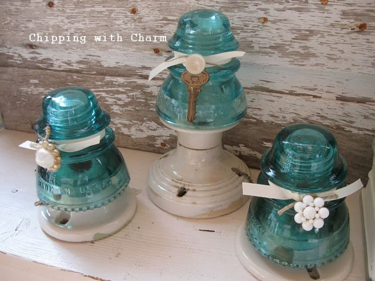 Chipping with charm aqua glass insulator trees http for Glass insulator ideas