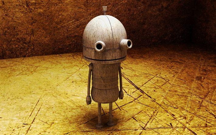 Indir duvar kağıdı robotlar, ahşap robot, yaratıcı 3d sanat