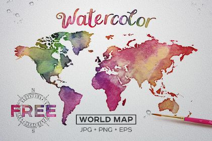 Free Watercolor World Map comes handy in EPS, PNG and JPG format. This illustration will be perfect if you want to create a travelling poster