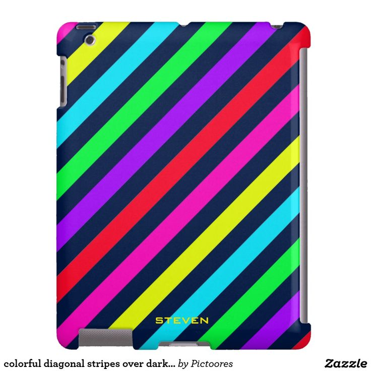 colourful diagonal stripes over dark with text iPad case