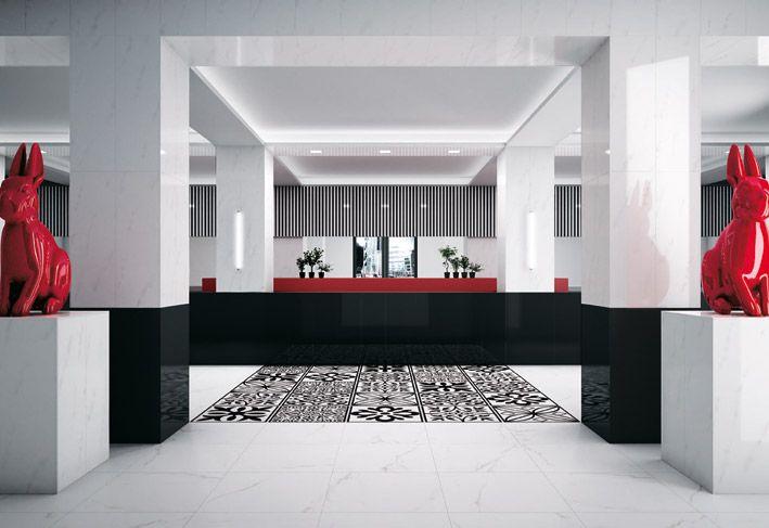 Interior Design, White Black Ceiling Pillar Ceiling Lamps Red Rabbit Statue Plant Vase Monochrome Design Ceramic Floor Tiles And Window ~ Wonderful Ceramic Interior On The Floor Design