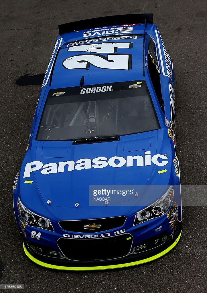 Jeff Gordon, driver of the #24 PANASONIC Chevrolet, drives through the garage area during practice for the NASCAR Sprint Cup Series Quicken Loans 400 at Michigan International Speedway on June 12, 2015 in Brooklyn, Michigan.