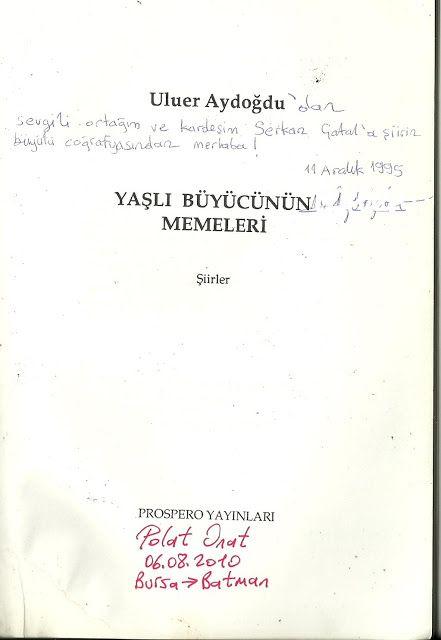 imzalı kitaplar müzesi: Uluer Aydoğdu
