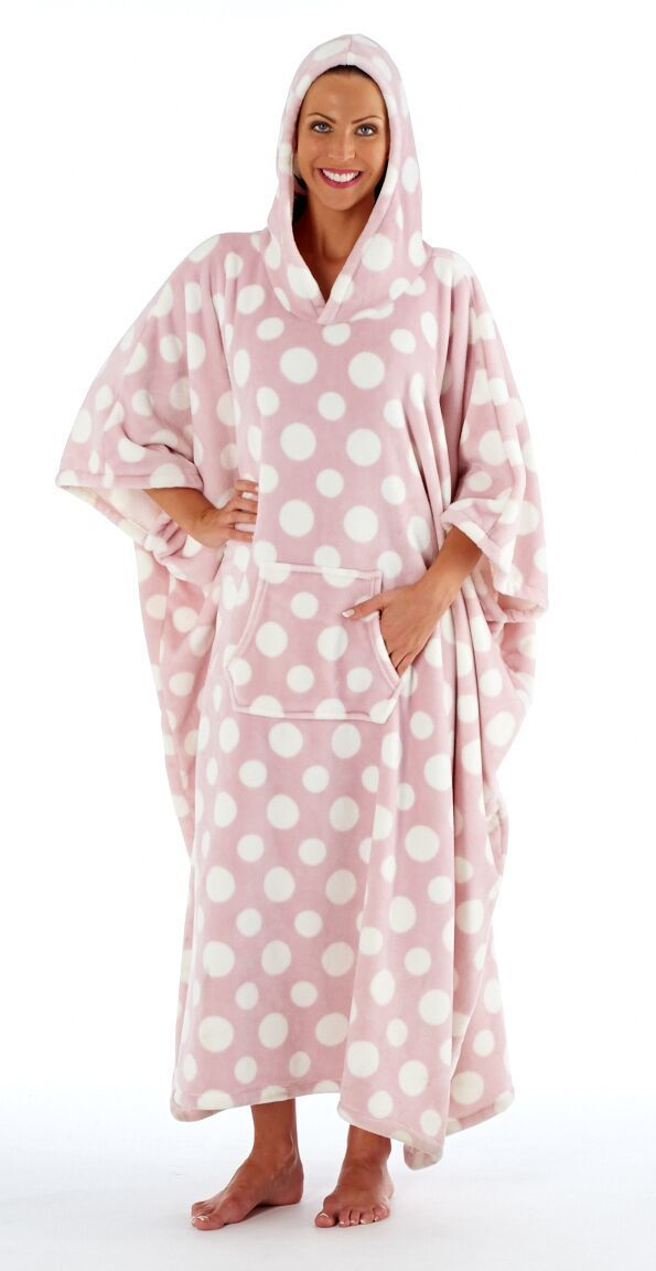 Ladies Polka Dot Plush Fleece Long Hooded Poncho Robe  Pink  7b476df31