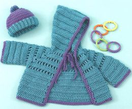 Baby Hoodie & Hat in Caron Simply Soft Brites - Downloadable PDF