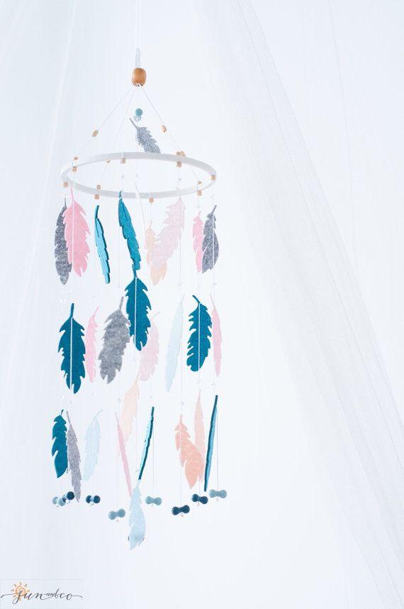 Индейский Мобиль-Декоративный интерьерный мобиль- декор детской комнаты- природа- эко-мобиль- Перья- Перья из фетра-Бохо стиль-Вигвам