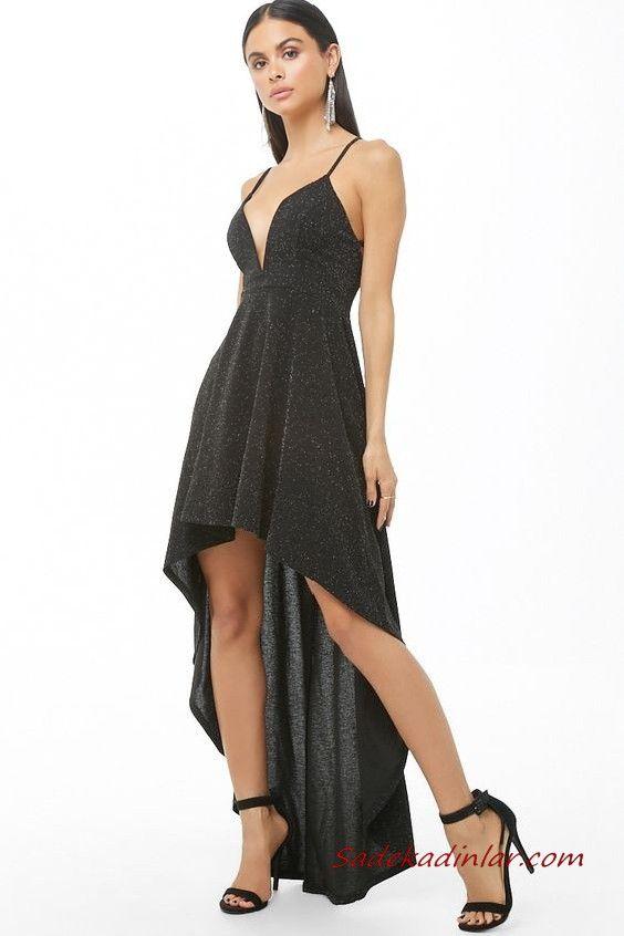 2db61b2e95a52 Önü Kısa Arkası Uzun Abiye Siyah Ön Kısa Arkası Uzun Askılı V Yakalı Kloş  Etekli Simli #abiye #moda #fashion #fashionblogger #evening #eveningdresses  ...