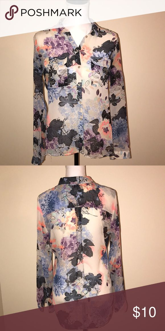 Floral Blouse BOGO! Buy one, get one free! Floral almost transparent blouse. Very good quality, super elegant. The back side is a little longer than the front. I bought it in Europe and its size is 38, which first medium and small. All the tops are buy one, get one free. So if you would like to purchase this blouse, just tell me what other top do you like and I will send it to you for free. mexx Tops Blouses