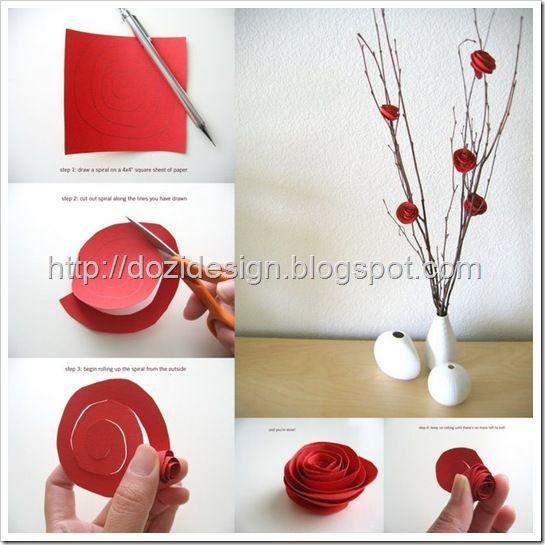 #Lavoretti per la festa della #mamma: #rose rosse di carta