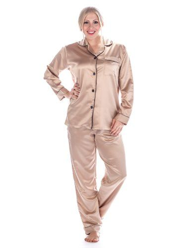 Womens Pink Satin Pajama Set