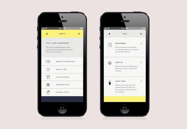 Love Tank App Menu UI | Great use of custom icons in user interface design