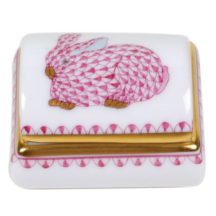 Herend Tooth Fairy Box Pink Bunny Fishnet Enhanced by accents of 24k gold. Superior quality white porcelain. Strong for every day use. All hand painted designs by master artisans. Dimensions: 1 3/4 inches long.