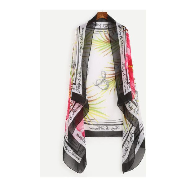 SheIn(sheinside) Hawaii Letter Print Chiffon Scarf ($6) ❤ liked on Polyvore featuring accessories, scarves, black and white, print scarves, black and white shawl, chiffon shawl, chiffon scarves and beach shawl