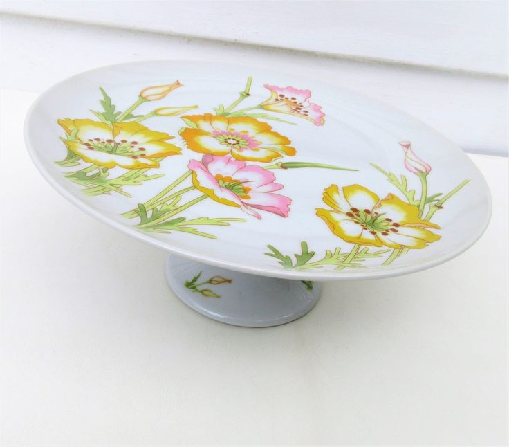 Vintage Cake Stand | Floral Cake Display | Pedestal Cake Plate by WhimzyThyme on Etsy