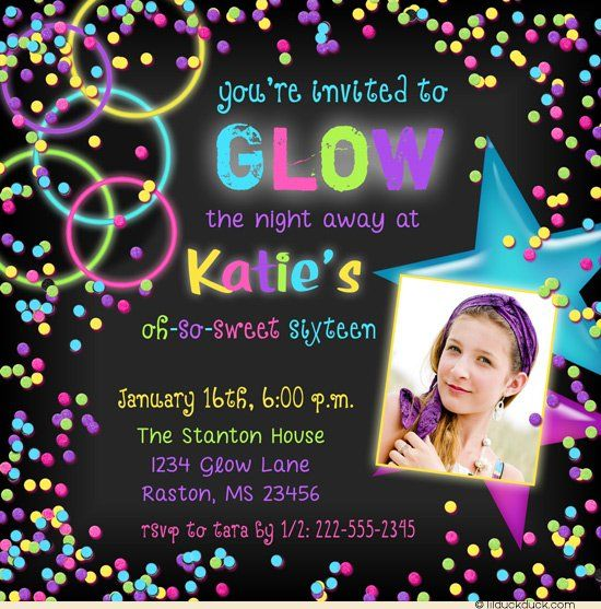 Glow Party Photo Invitation - Birthday Girl Design