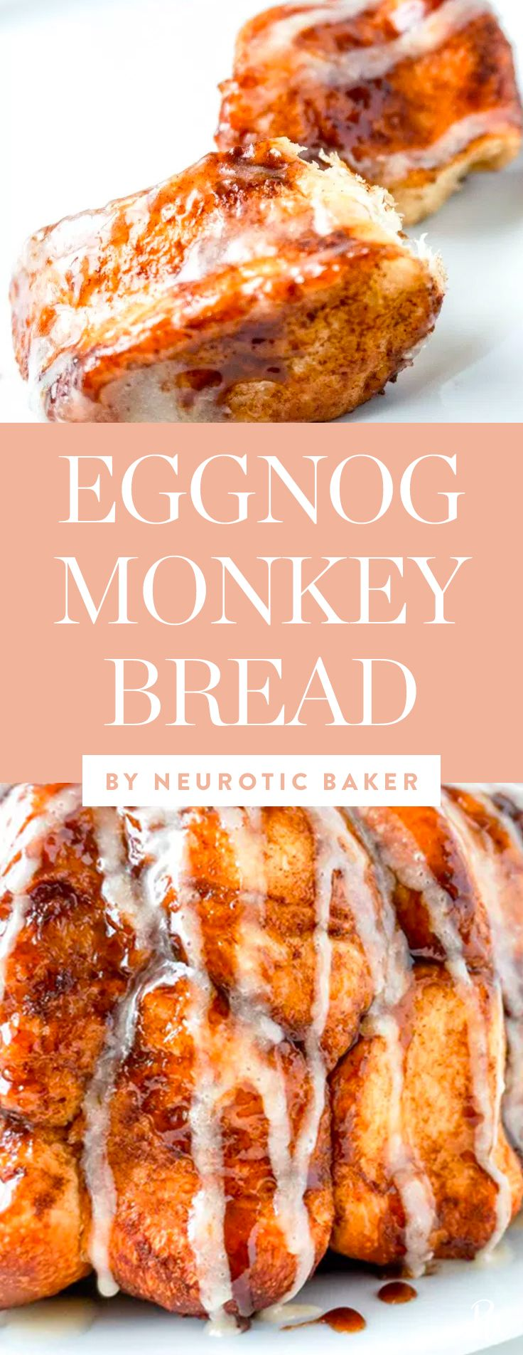 Get this amazing eggnog monkey bread recipe by neurotic baker, and more of our favorite Christmas bread recipes all your guests will love. #christmasbread #breadrecipes #bread #christmasrecipes #holidayrecipes #homemadebread #desserts #monkyebread #eggnog