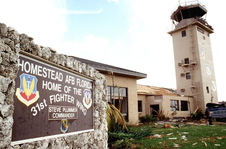 Homestead Air Force Base - Homestead Fl. This base was destroyed by Hurricane Andrew in 1992. In 1994 it became a Air Force Reserve Command.