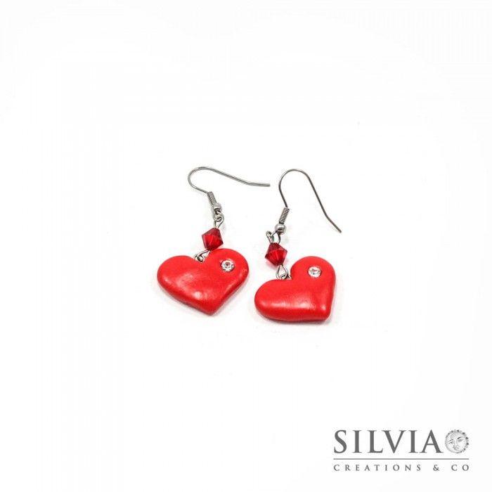 Orecchini pendenti con cuore rosso e strass stile Tiffany