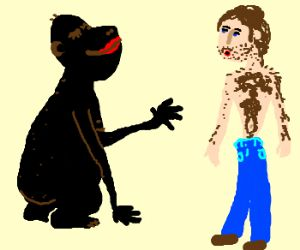 gorilla (who isn't me) flirts with hairy man