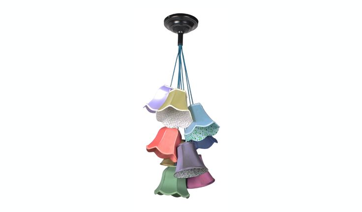 Granny hanglamp Super gave en trendy hanglamp met verschillende kapjes in verschillende kleuren. Mooie stoffen en ook geprinte binnenzijdes.  De stroomdraden zijn net als de lampen vroeger met stof bekleed. Mooie grote plaffondplaat.  To much kleur? Er is ook een geheel witte uitvoering!  € 199,-  Dit product is te bezichtigen in:Oss en Cuijk