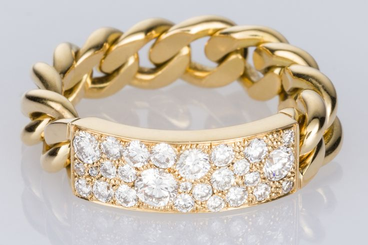 A Dior perfect chain ring. Incredibly comfortable on the finger, flexible gold chain with 0.50cts of brilliant cut white diamonds. It's a super design and of course SO DIOR! Available on 1st Dibs - The Jewellery Trading Company