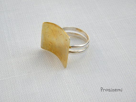 Geometric ring gold plated silver adjustable ring by prosinemi