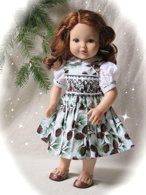 18 Inch Doll Smocked Christmas Dress - Brown & Green Holiday Doll Dress - Smocked Doll Dress - 18 Inch Doll Smocked - Christmas Present