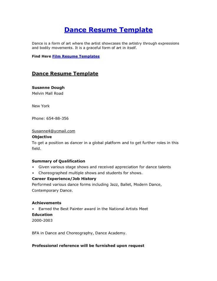 dance instructor job description for resume and template examples - dance resume
