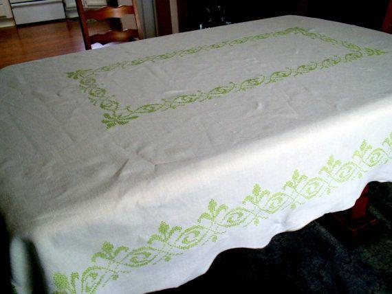 Vintage Cross Stitch Tablecloth Fleur de by BridenetVintageLinen, $17.00