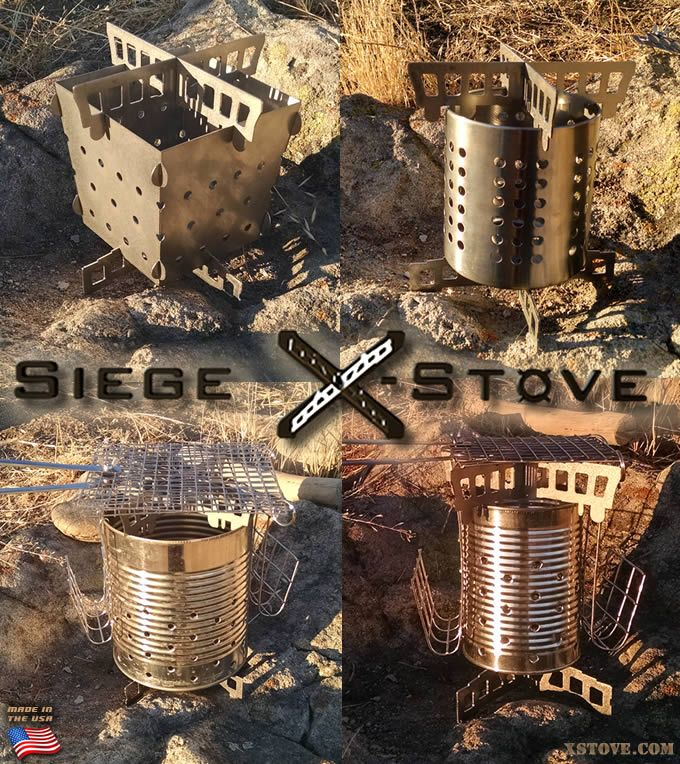 Here are just a few examples of the wood-burning and multi-fuel stoves that you can create using the Siege Stove Cross-Members. The universal design will fit almost any common can, rapidly converting it to a high-performance, super-stable, low-cost camping and survival stove (also wood-gas stoves!). You can even use them to make air holes in a can.