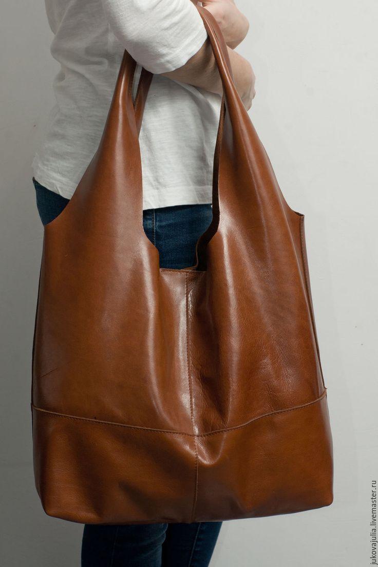 Купить Сумка шоппер мешок рыжая коричневая из натуральной кожи - коричневый, звериная расцветка