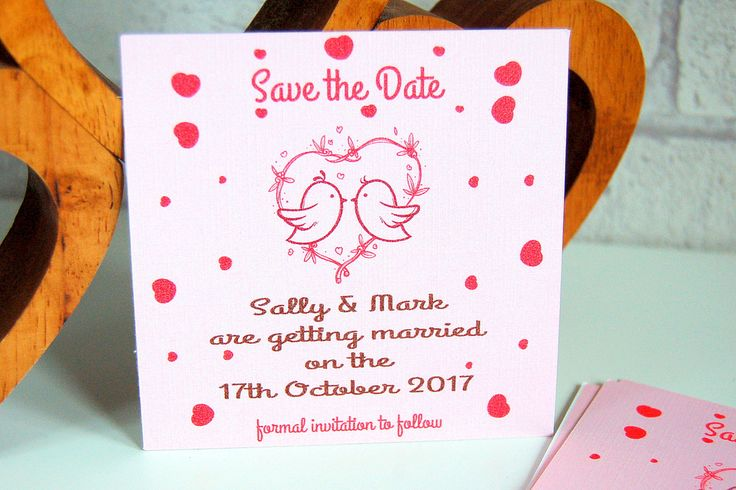 Save the date wedding cards, pink save the date cards, Wedding save the date, love birds save the date by KraziCrochet on Etsy