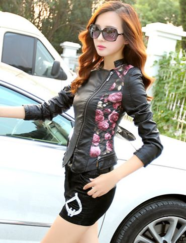 Romantic Floral Printed Slanted Zip Front Leather Jacket, Shop online for $60.00 Cheap Leather Jackets code 726307 - Eastclothes.com