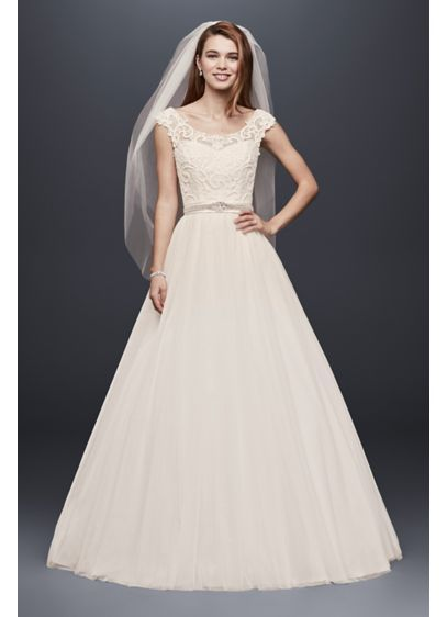 Tulle Wedding Dress with Lace Illusion Neckline WG3741 [http://www.davidsbridal.com/Product_tulle-plus-size-wedding-dress-with-lace-cap-sleeve-ntwg3741_all-wedding-dresses; Petite: http://www.davidsbridal.com/Product_petite-wedding-dress-with-illusion-neckline-7ntwg3741_all-wedding-dresses]