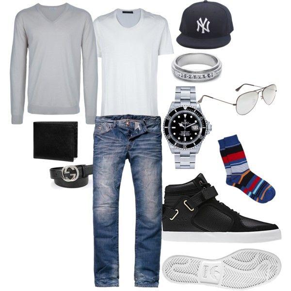 """MENS CASUAL FASHION"" men's white V-neck, men's grey V-neck sweater, jeans, snapback, sneakers"