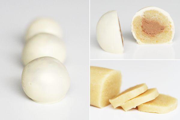 Hjemmelavede snebolde med marcipan, nougat og hvid chokolade