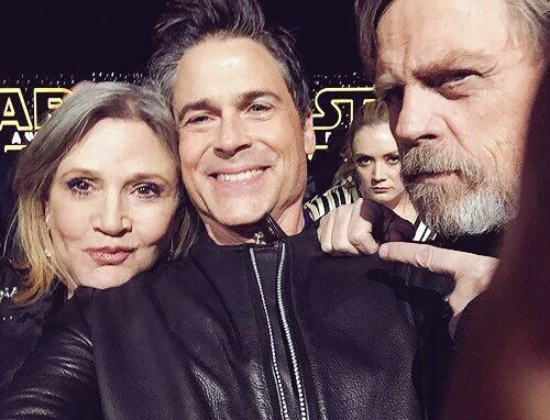 Billie with the awesome photobomb ftw... Carrie Fisher Rob Lowe and Mark Hamill