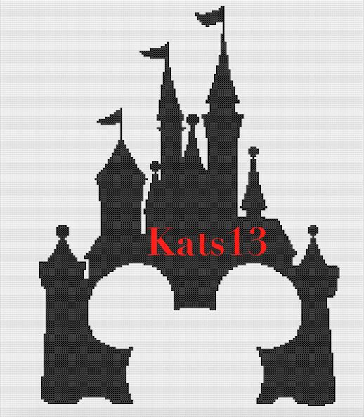 chateau disney mickey mouse broderie point de croix cross stitch pattern pdf - Dessin Chateau Disney
