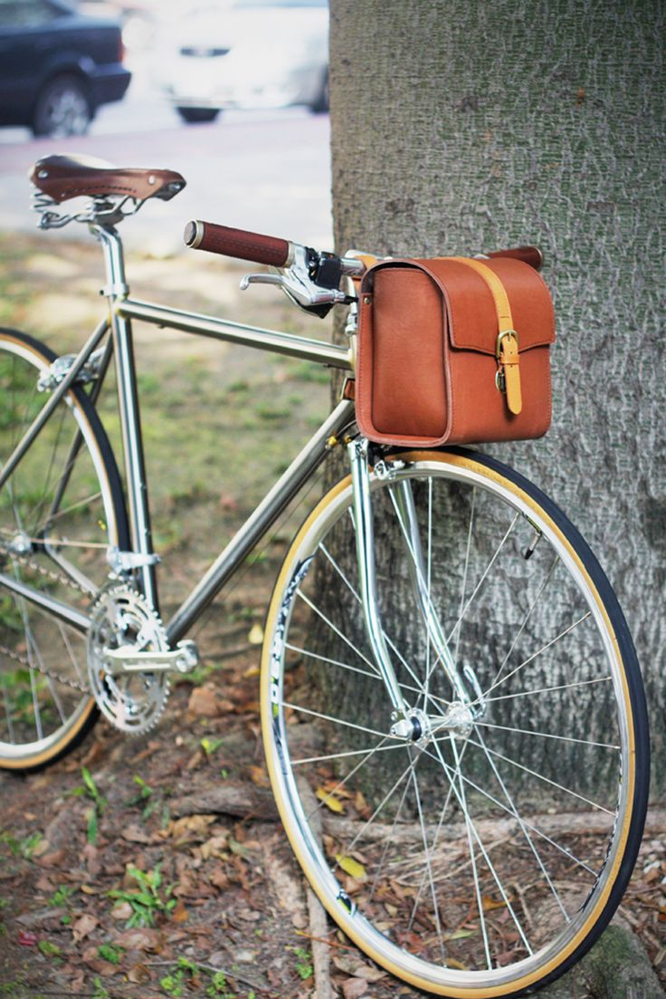 2015 New Genuine Leather MTB Road Bike Cycling Bicycle Front Bag Outdoor Pouch Bags Bicycle Accessories