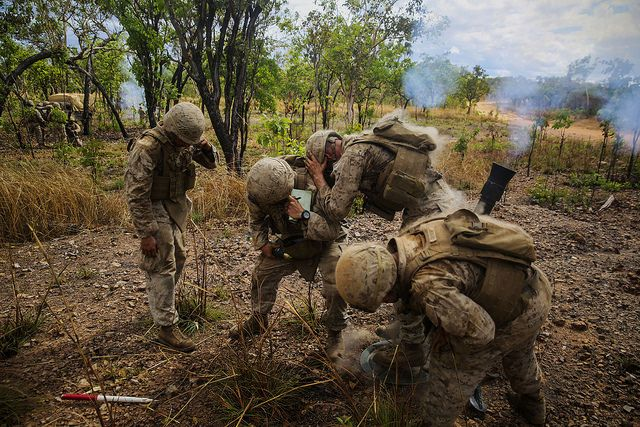 Marines with Weapons Company, 1st Battalion, 5th Marine Regiment, Marine Rotational Force - Darwin fire the 81mm mortar system during a crewed-served weapons competition aboard Mount Bundey Training Area. #USMC