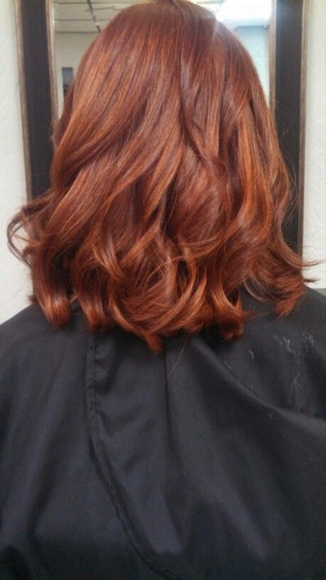 Copper Red Hair with golden highlights. Hair done by Danielle at Lussuria Salon.