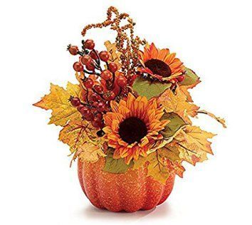 Fall Flowers Pumpkin Arrangement  Thanksgiving decoration ideas are easy when you have the right thanksgiving decorative accent.  Consider combining Thanksgiving wall art, Thanksgiving accent pillows and other Thanksgiving home décor pieces can bring your home together.  You can create a warm and inviting home by using fall and Thanksgiving home décor in combination with your current home décor theme to create an unforgettable 2017 fall and Thanksgiving.