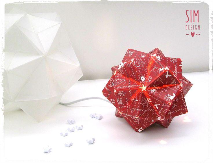 """""""ILUMINA O TEU NATAL"""" Candeeiro origami - luz de presença (Disponível em polipropileno e em papel natalício) Diga-nos o que pretende! =)"""