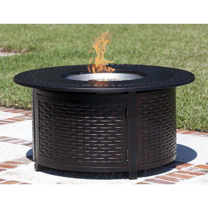 "Fire Sense Bellante Round Propane Fire Pit Patio Table - Woven Cast Aluminum (#62195) #30""---49"" #Cocktail-Table #Outdoor"