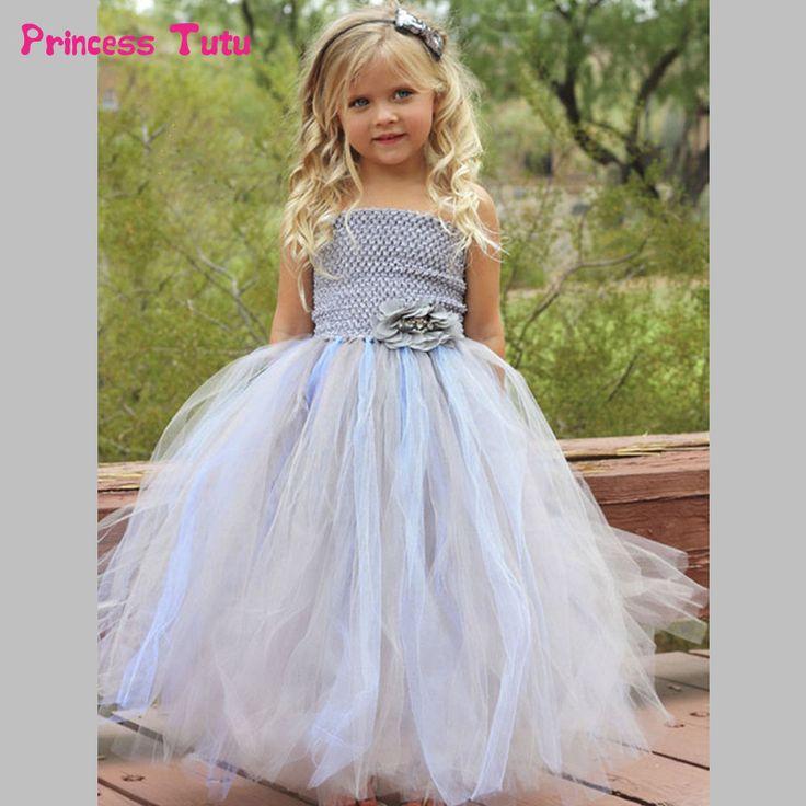 Handmade Flower Girls Wedding Dress Gray Children Pageant Ball Gown Tulle Tutu Dress Princess Costume Baby Kids Party Dresses #Affiliate